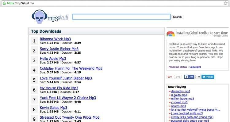 Scaricare MP3 Gratis con MP3Skull