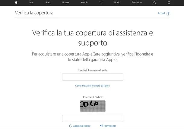 Verifica Garanzia iPhone
