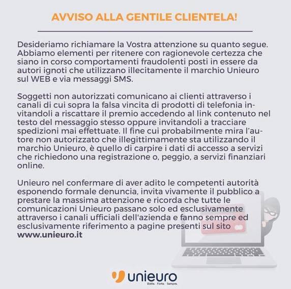 Unieuro Truffa SMS 2019