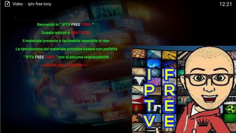 IPTV Free Tony Addon Kodi Home