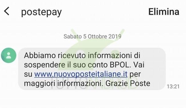 Truffa PostePay SMS 2019