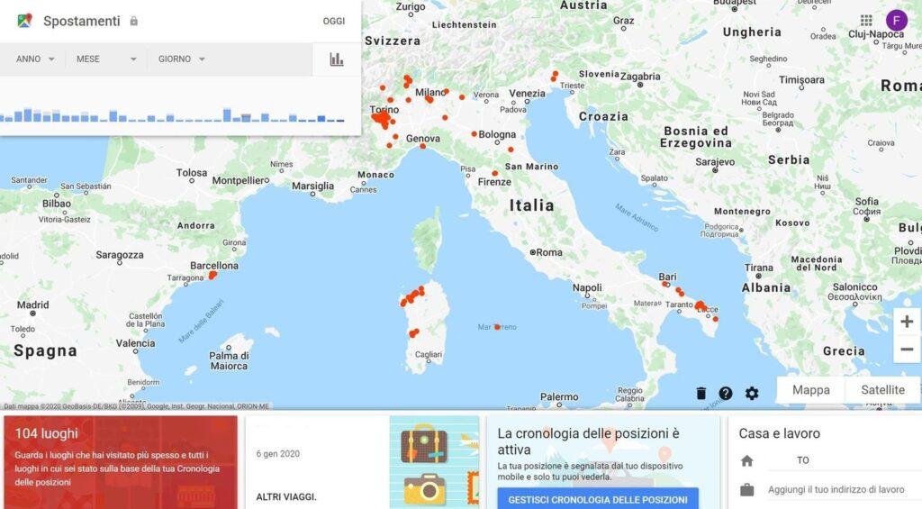 Cronologia Spostamenti Google Maps