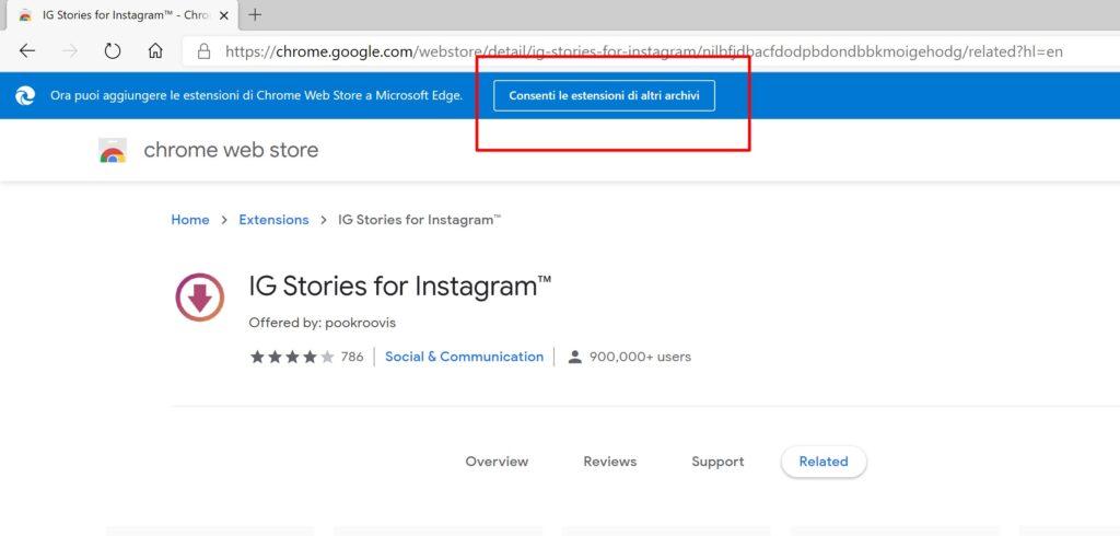 Estensioni Chrome su Microsoft Edge