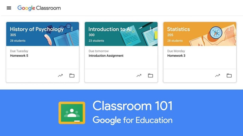 Google Classroom Home Page