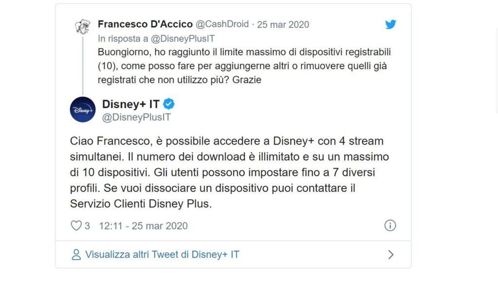 Rimuovere Dispositivi Disney Plus