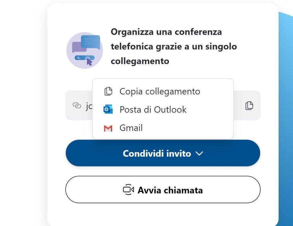 Skype Meet Now Condividi