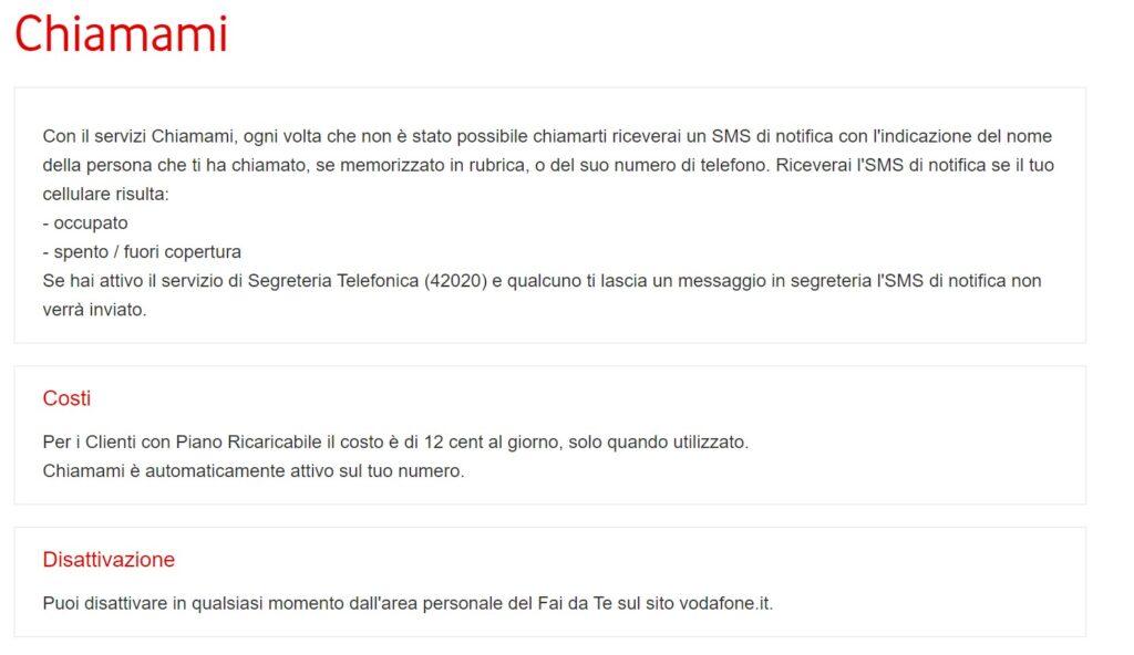Vodafone ATTENZIONE Servizi Attivi