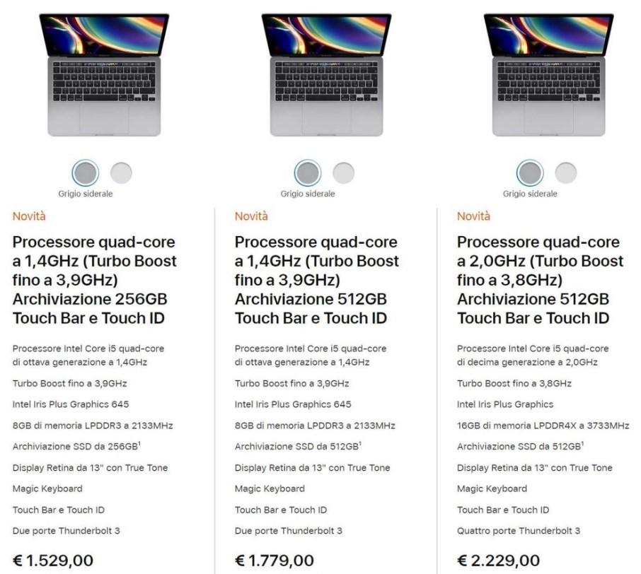Apple MacBook Pro 2020 Price Italy