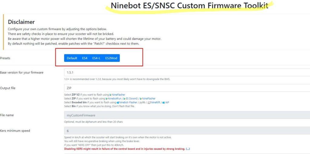 Ninebot ES-SNSC Custom Firmware Toolkit
