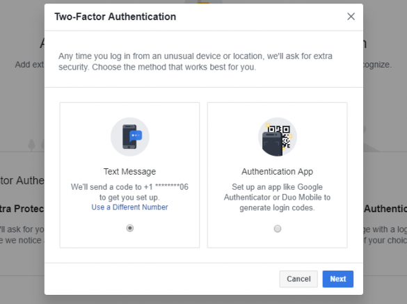 Facebook Two Factor Authentication Method