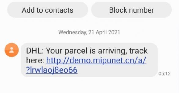 Pacco DHL SMS Virus