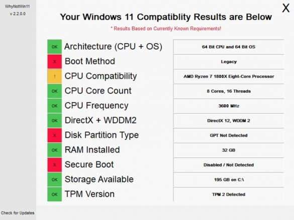 WhyNotWin11 Windows 11 Update Compatibility